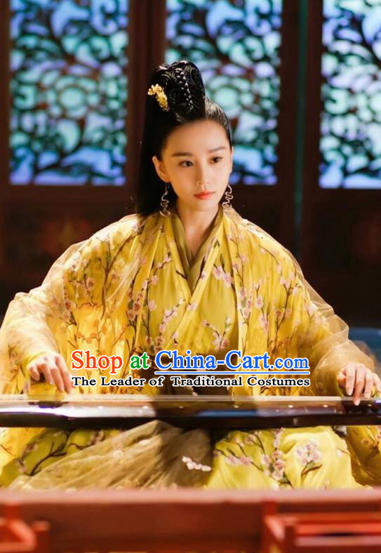 Asian Chinese Traditional Northern and Southern Dynasties Palace Lady Costume and Headpiece Complete Set, Lost Love In Times China Ancient Fairy Princess Dress Clothing