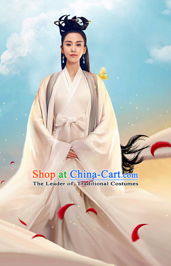 Asian Chinese Traditional Ancient Saintess Costume and Headpiece Complete Set, Lost Love In Times China Northern and Southern Dynasties Fairy Swordswoman Dress Clothing