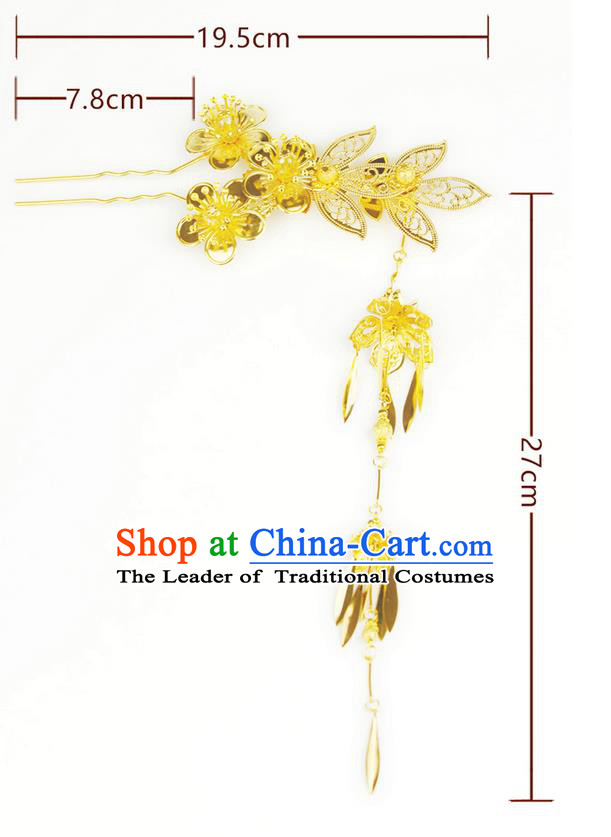 Chinese Ancient Style Hair Jewelry Accessories Wedding Golden Flower Tassel Hairpins, Hanfu Xiuhe Suits Step Shake Bride Handmade Hair Stick for Women
