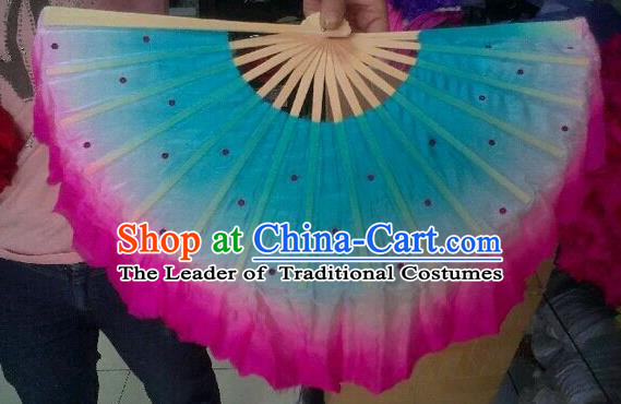 Pure Silk Traditional Chinese Fans Oriental Gradient Blue Ribbon Fan Folk Dance Cultural Yanko Dance Hand Fan