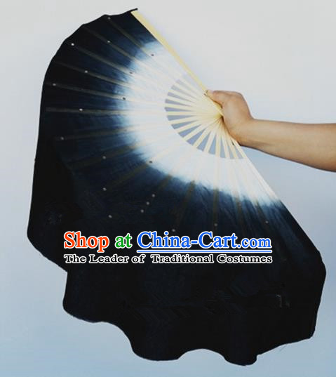 Pure Silk Traditional Chinese Fans Oriental Black Ribbon Fan Folk Dance Cultural Yanko Dance Hand Fan