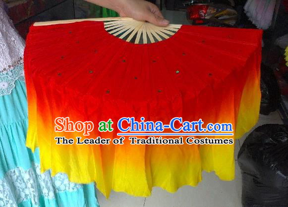 Pure Silk Traditional Chinese Fans Oriental Red Ribbon Folding Fan Folk Dance Cultural Yangko Dance Hand Fan