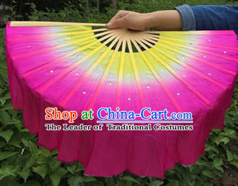 Pure Silk Traditional Chinese Fans Oriental Rosy Ribbon Jasmine Flower Fan Folk Dance Cultural Yangko Dance Hand Fan