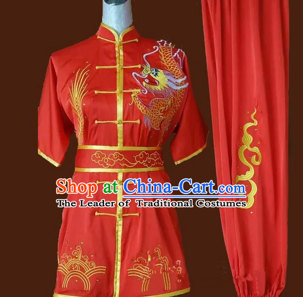 Top Grade Kung Fu Silk Costume Asian Chinese Martial Arts Tai Chi Training Red Uniform, China Embroidery Gongfu Shaolin Wushu Clothing for Men