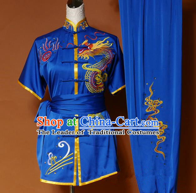 Top Grade Kung Fu Silk Costume Asian Chinese Martial Arts Tai Chi Training Royalblue Short Sleeve Uniform, China Embroidery Dragon Gongfu Shaolin Wushu Clothing for Men