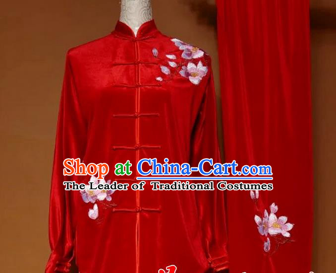 Top Grade Kung Fu Velvet Costume Asian Chinese Martial Arts Tai Chi Training Red Uniform, China Embroidery Magnolia Flower Gongfu Shaolin Wushu Clothing for Women