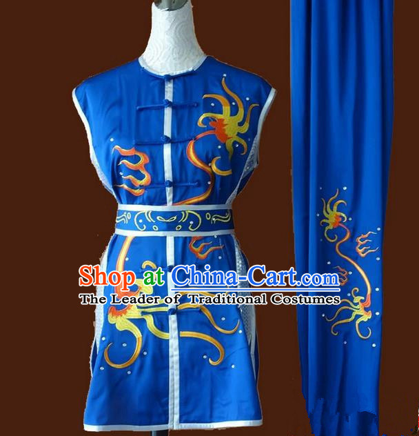 Asian Chinese Top Grade Silk Kung Fu Costume Martial Arts Tai Chi Training Blue Suit, China Embroidery Gongfu Shaolin Wushu Uniform for Men