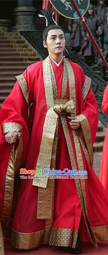 Asian Chinese Traditional Ancient Imperial Emperor Wedding Costume and Headpiece Complete Set, Lost Love In Times China Northern and Southern Dynasties Bridegroom Clothing for Men