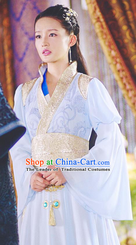 Asian Chinese Traditional Ancient Princess Costume and Headpiece Complete Set, Princess Agents China Northern and Southern Dynasties Palace Lady Dress for Women