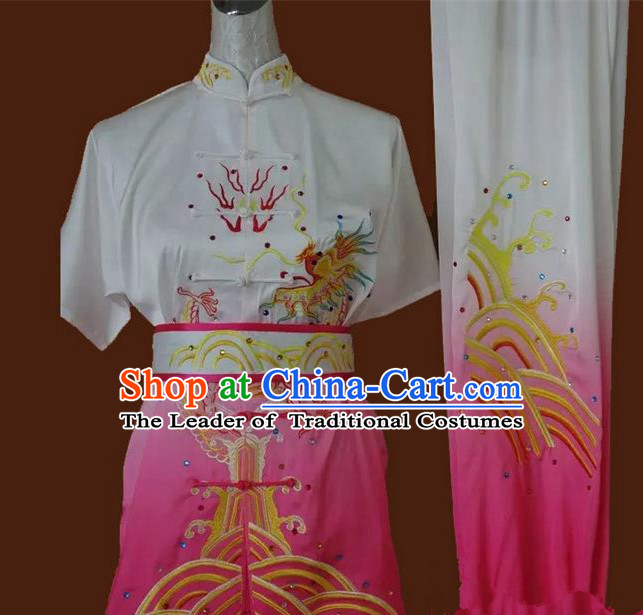 Asian Chinese Top Grade Silk Kung Fu Costume Martial Arts Tai Chi Training Suit, China Gongfu Shaolin Wushu Embroidery Dragon Pink Uniform for Women