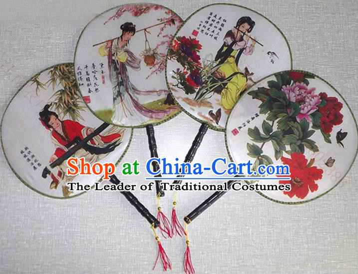 Traditional Chinese Crafts Beauty Fan China Palace Round Fan Imperial Consort Fans for Women
