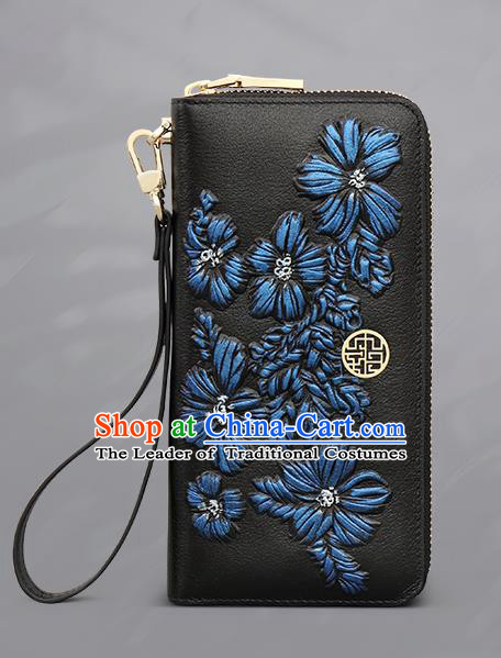 Traditional Handmade Asian Chinese Element Embroidery Folding Wallet National Handbag Purse for Women