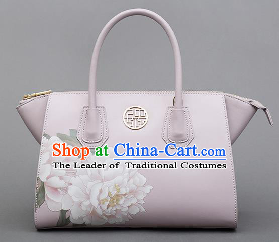 Traditional Handmade Asian Chinese Element Clutch Bags Shoulder Bag National Printing Peony Flowers Handbag for Women