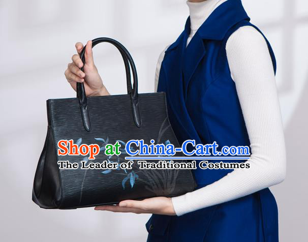 Traditional Handmade Asian Chinese Element Black Clutch Bags Shoulder Bag National Printing Orchid Flowers Handbag for Women
