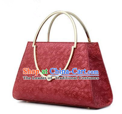 Traditional Handmade Asian Chinese Element Knurling Vines Flower Bags Shoulder Bag National Red Handbag for Women