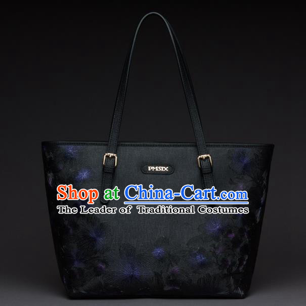 Traditional Handmade Asian Chinese Element Clutch Bags Shoulder Bag National Black Handbag for Women