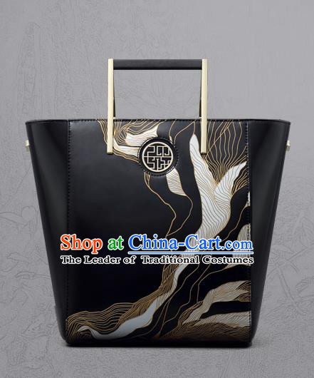 Traditional Handmade Asian Chinese Element Clutch Bags Shoulder Bag National Black Engraving Handbag for Women