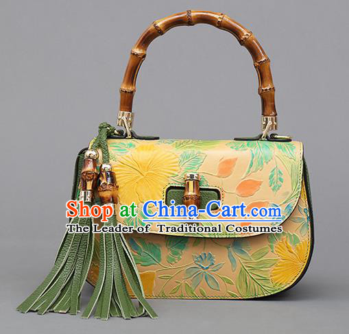 Traditional Handmade Asian Chinese Element Clutch Bags Shoulder Bag Haversack National Yellow Knurling Handbag for Women