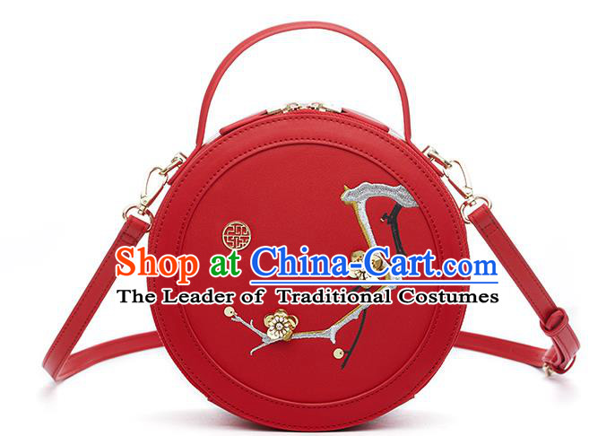 Traditional Handmade Asian Chinese Element Clutch Bags Shoulder Bag Embroidery Plum Blossom Haversack National Red Round Handbag for Women