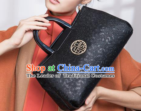 Traditional Handmade Asian Chinese Element Knurling Clutch Bags National Black Handbag for Women