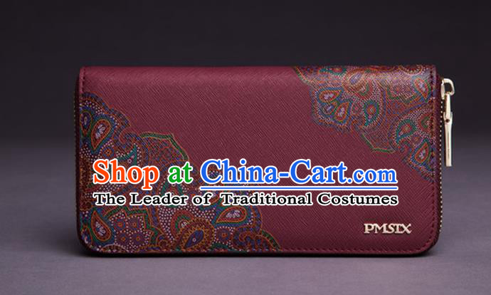 Traditional Handmade Asian Chinese Element Printing Peony Wallet National Handbag Red Purse for Women