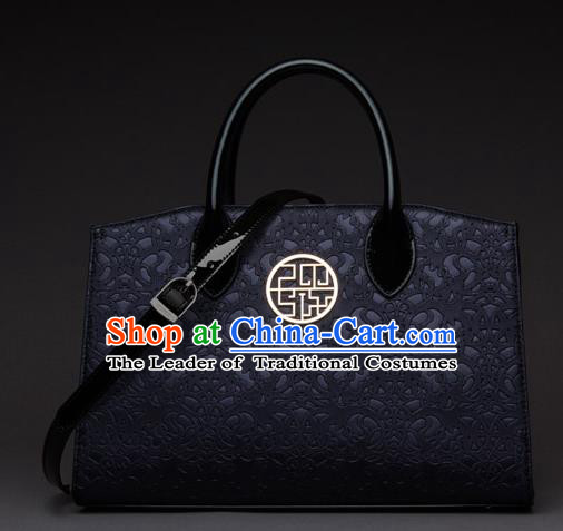 Traditional Handmade Asian Chinese Element Knurling Shoulder Bags National Deep Purple Handbag for Women