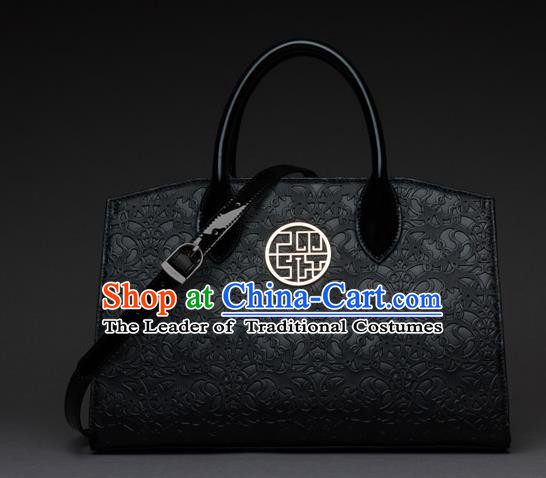 Traditional Handmade Asian Chinese Element Knurling Shoulder Bags National Black Handbag for Women