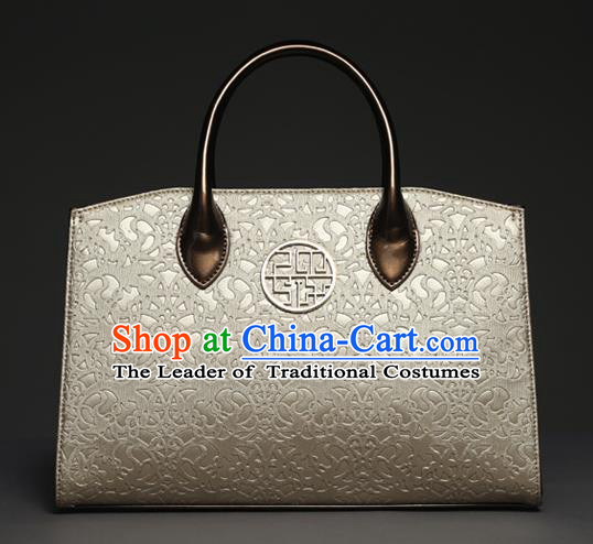 Traditional Handmade Asian Chinese Element Knurling Shoulder Bags National Champagne Golden Handbag for Women