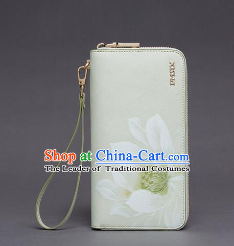 Traditional Handmade Asian Chinese Element Printing Lotus Wallet National Handbag White Purse for Women