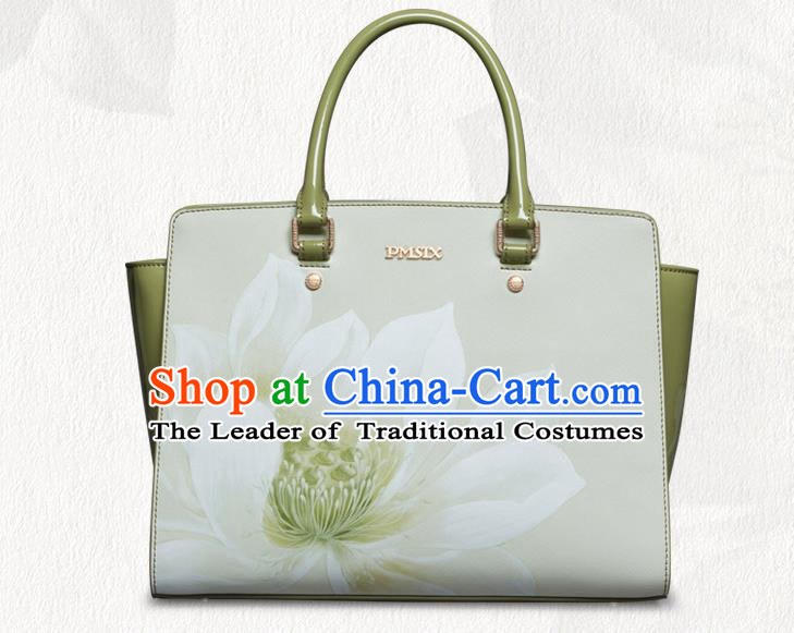 Traditional Handmade Asian Chinese Element Painting Lotus Clutch Bags National Evening Dress Handbag for Women