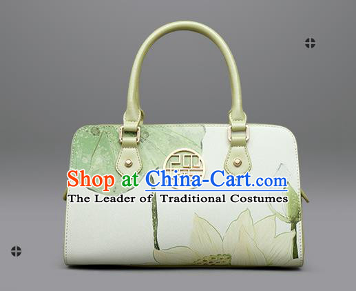Traditional Handmade Asian Chinese Element Clutch Bags Shoulder Bag National Printing Lotus Handbag for Women