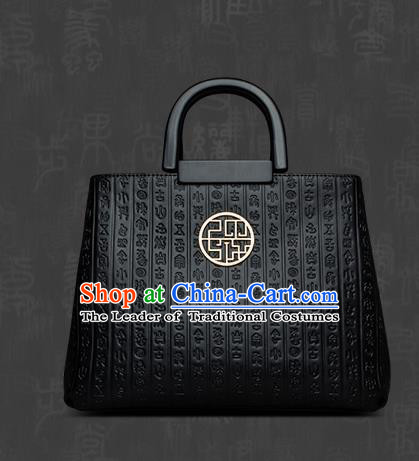 Traditional Handmade Asian Chinese Element Clutch Bags Shoulder Bag National Knurling Black Handbag for Women