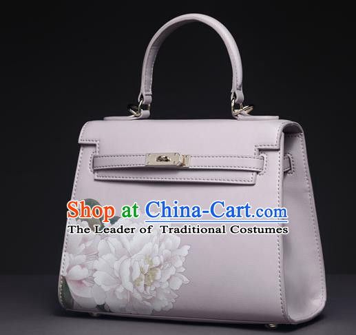 Traditional Handmade Asian Chinese Element Clutch Bags Shoulder Bag National Printing Peony Handbag for Women