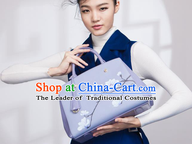 Traditional Handmade Asian Chinese Element Clutch Bags Shoulder Bag National Printing Mangnolia Flowers Lilac Handbag for Women