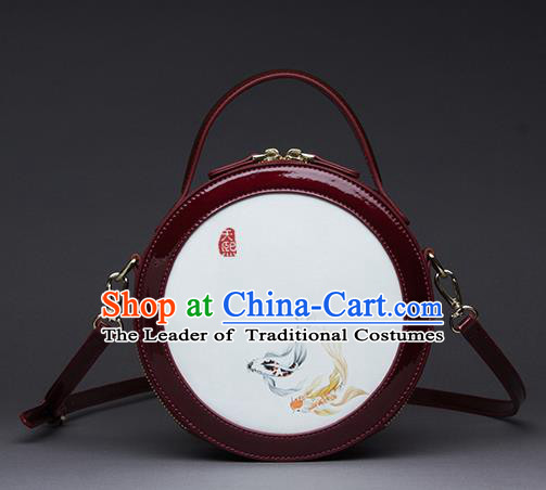 Traditional Handmade Asian Chinese Element Printing Messenger Bags Shoulder Bag National Red Round Handbag for Women