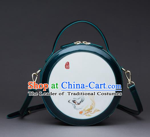 Traditional Handmade Asian Chinese Element Printing Messenger Bags Shoulder Bag National Green Round Handbag for Women