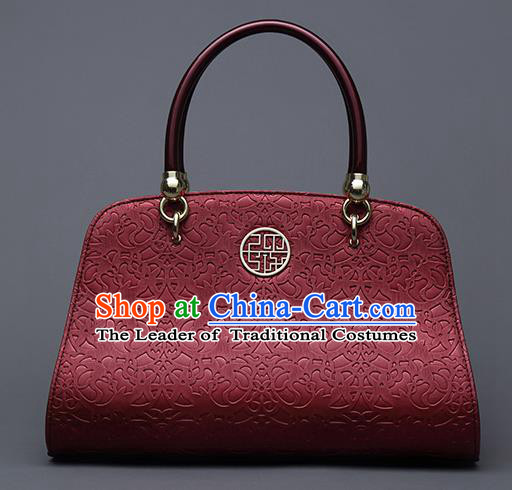 Traditional Handmade Asian Chinese Element Vines Flower Messenger Bags Shoulder Bag National Red Handbag for Women