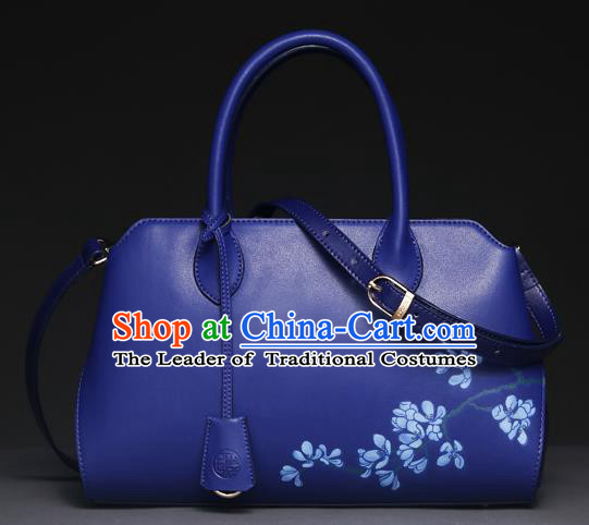 Traditional Handmade Asian Chinese Element Clutch Bags Shoulder Bag National Printing Wisteria Blue Handbag for Women