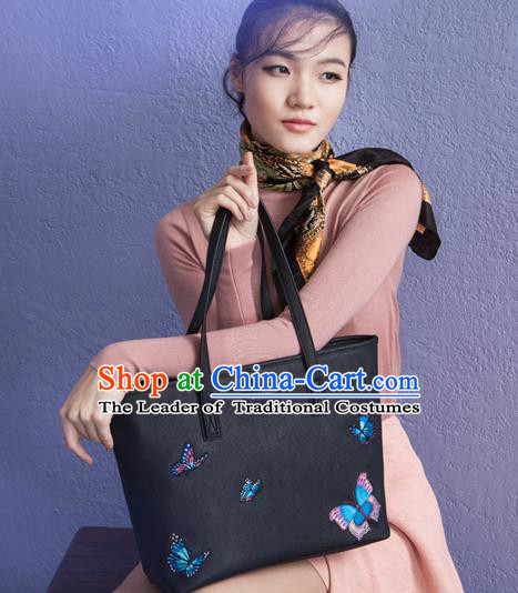 Traditional Handmade Asian Chinese Element Clutch Bags Shoulder Bag National Embroidered Butterflies Handbag for Women