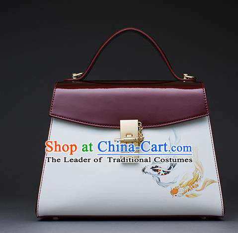 Traditional Handmade Asian Chinese Element Patent Leather Clutch Bags Shoulder Bag National Printing Fish Red Handbag for Women
