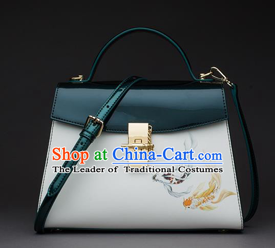 Traditional Handmade Asian Chinese Element Patent Leather Clutch Bags Shoulder Bag National Printing Fish Green Handbag for Women