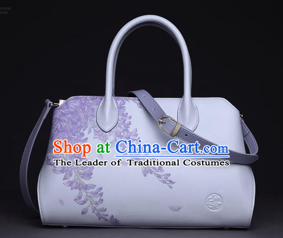 Traditional Handmade Asian Chinese Element Clutch Bags Shoulder Bag National Printing Wisteria Handbag for Women
