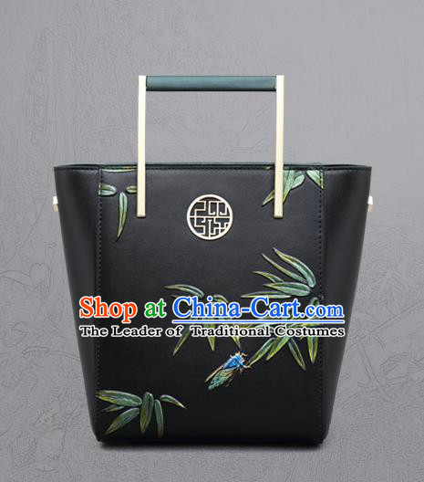 Traditional Handmade Asian Chinese Element Clutch Bags Shoulder Bag National Knurling Bamboo Leaves Leather Handbag for Women