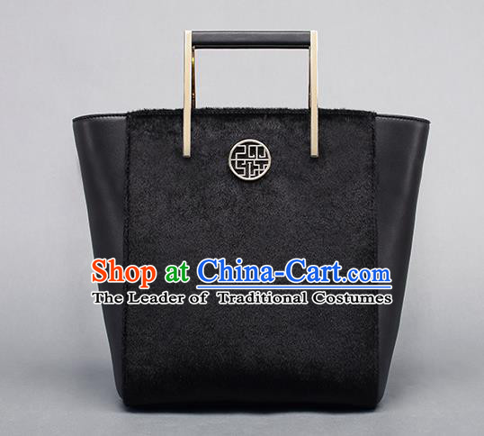 Traditional Handmade Asian Chinese Element Clutch Bags Shoulder Bag National Black Leather Handbag for Women