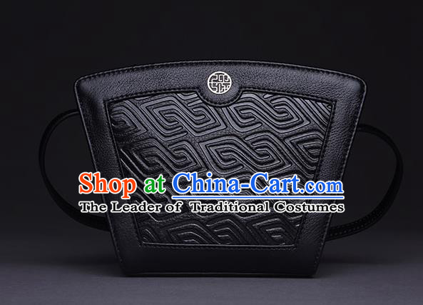 Traditional Handmade Asian Chinese Element Clutch Bags Shoulder Bag Haversack National Knurling Black Handbag for Women
