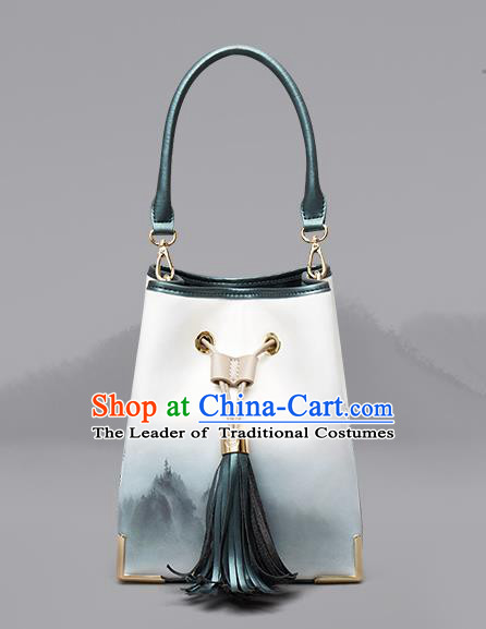 Traditional Handmade Asian Chinese Element Clutch Bags Shoulder Bucket Bag National Ink Painting Handbag for Women