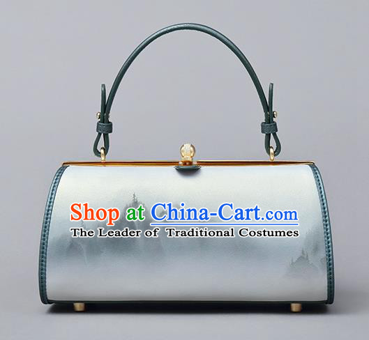 Traditional Handmade Asian Chinese Element Clutch Bags Shoulder Bag National Ink Painting Cheongsam Handbag for Women
