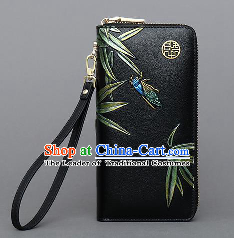 Traditional Handmade Asian Chinese Element Embroidery Bamboo Wallet National Handbag Purse for Women
