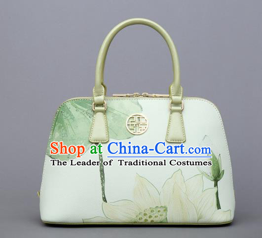 Traditional Handmade Asian Chinese Element Clutch Bags Shoulder Bag National Printing Lotus Flowers Handbag for Women