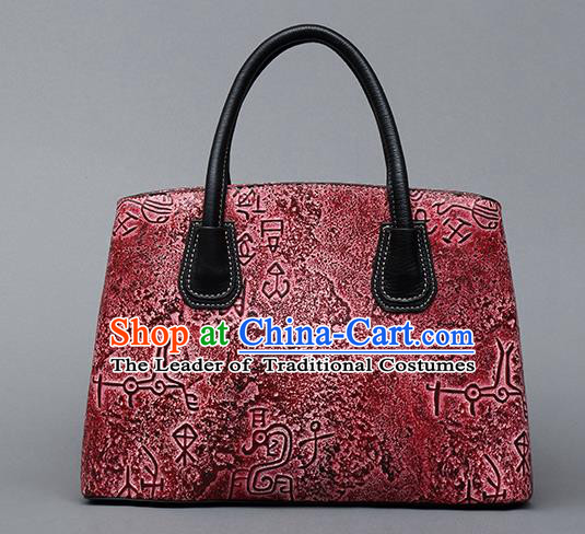 Traditional Handmade Asian Chinese Element Clutch Bags Shoulder Bag National Bronze Pattern Red Handbag for Women